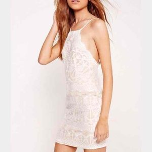 White/Nude Lace Bodycon Dress